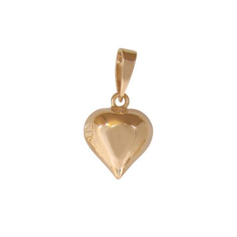 Pingente coração pequeno folhedo ouro 18k