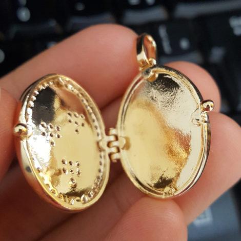 MB1136 pingente medalha relicario aberto para colocar foto folheado a ouro 18k brilho folheados bruna semijoias