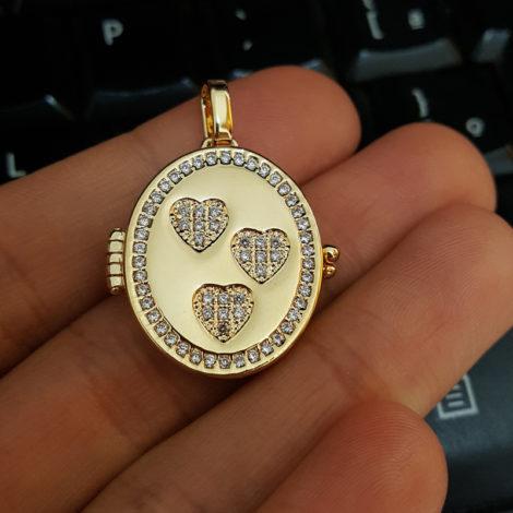 MB1136 pingente medalha relicario para foto folheado a ouro 18k brilho folheados bruna semijoias