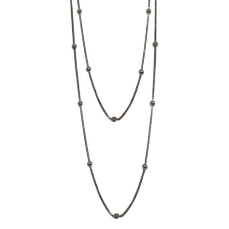 RN1900317 colar bolinhas comprimento 1 metro e 20 para usar com 2 ou 3 voltas no pescoço colar folheado rodio negro sabrina joias brilho folheados 1