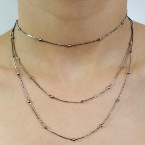 RN1900317 colar bolinhas comprimento 1 metro e 20 para usar com 2 ou 3 voltas no pescoço colar folheado rodio negro sabrina joias brilho folheados 2