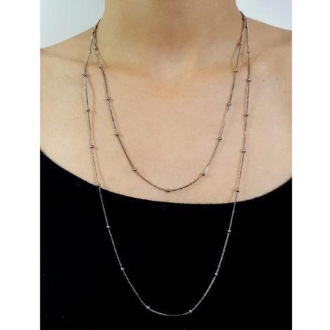 RN1900317 colar bolinhas comprimento 1 metro e 20 para usar com 2 ou 3 voltas no pescoço colar folheado rodio negro sabrina joias brilho folheados 3