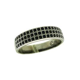 RN1910877 anel triplo 3 fileira de zirconia preta folheado rodio negro briho folheados sabrina joias 6 meses de garantia