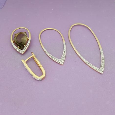 brinco com cristal gota fume e 3 metal partes no formato de gota cravejado com zirconias branca sabrina joias brilho folheados 1 1