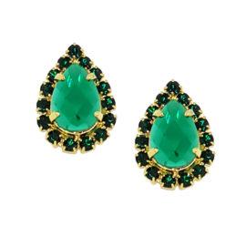 Brinco gota cristal verde com tarraxa sutiã de orelha
