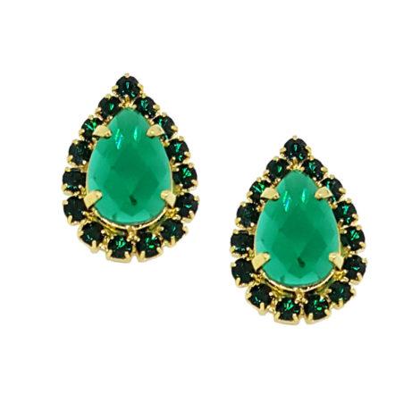 brinco cristal gota pedra verde com borda em strass verde folheado ouro 18k brilho folheados