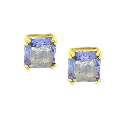 brinco quadrado pedra lilas pequeno folheado a ouro 18k brilho folheados