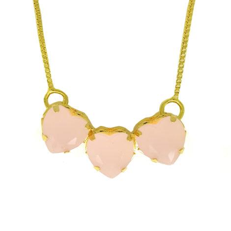 colar 3 coracao crisal rosa corrente veneziana com extensor joia folheada brilho folheaos