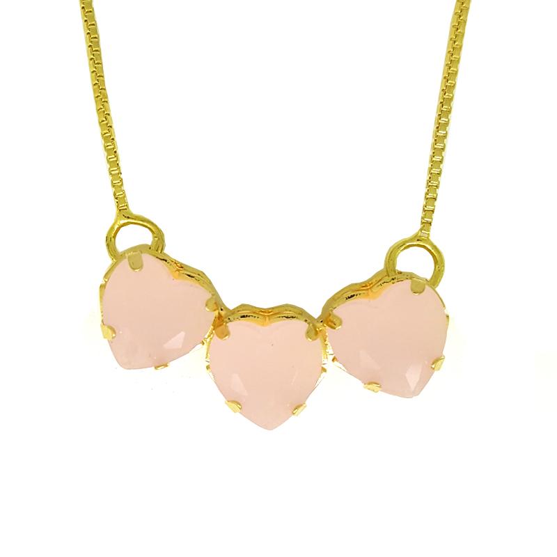 Colar 3 corações cristal rosa folheado ouro 18k com corrente veneziana a675dc2890