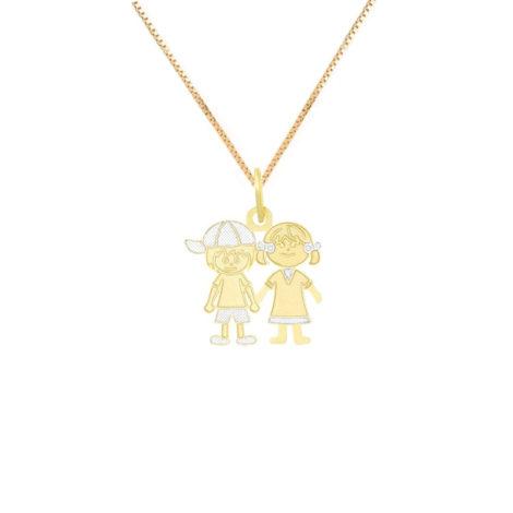 colar casal filhos com detalhe em ouro branco rodio joia folheada a ouro 18k brilho folheados