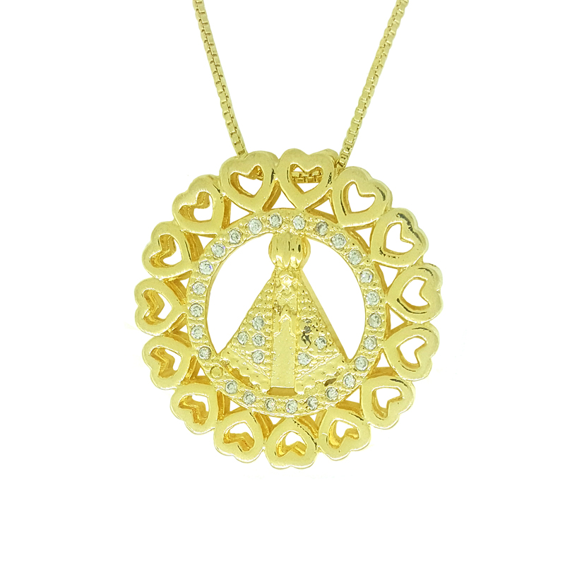 9d16cc8574904 Colar mandala Nossa Senhora Aparecida folheado a ouro 18k