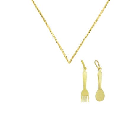 colar feminino chef de cozinha com pingente colher garfo folheado a ouro 18k brilho folheados