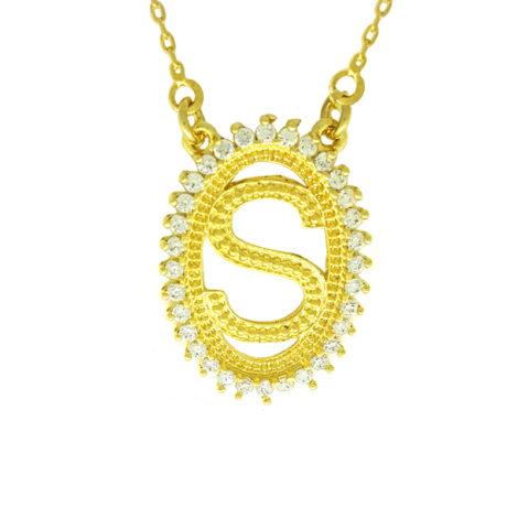 colar letra s inicial nome com borda cravejada colar folheado ouro 18k zirconia branca brilho folheados