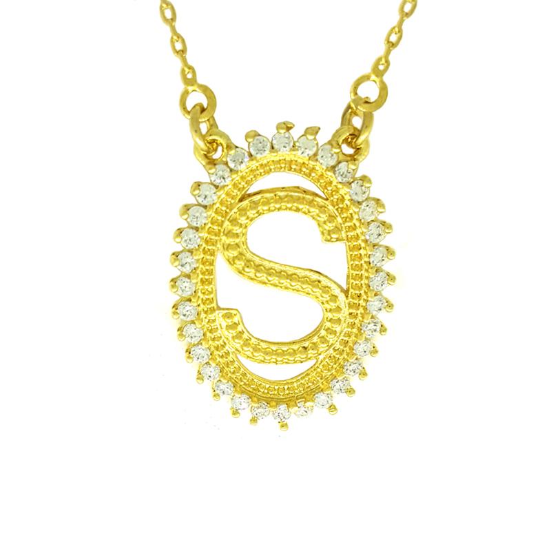 44e59126b25c4 Colar letra S inicial nome oval com zircônia folheado a ouro 18k
