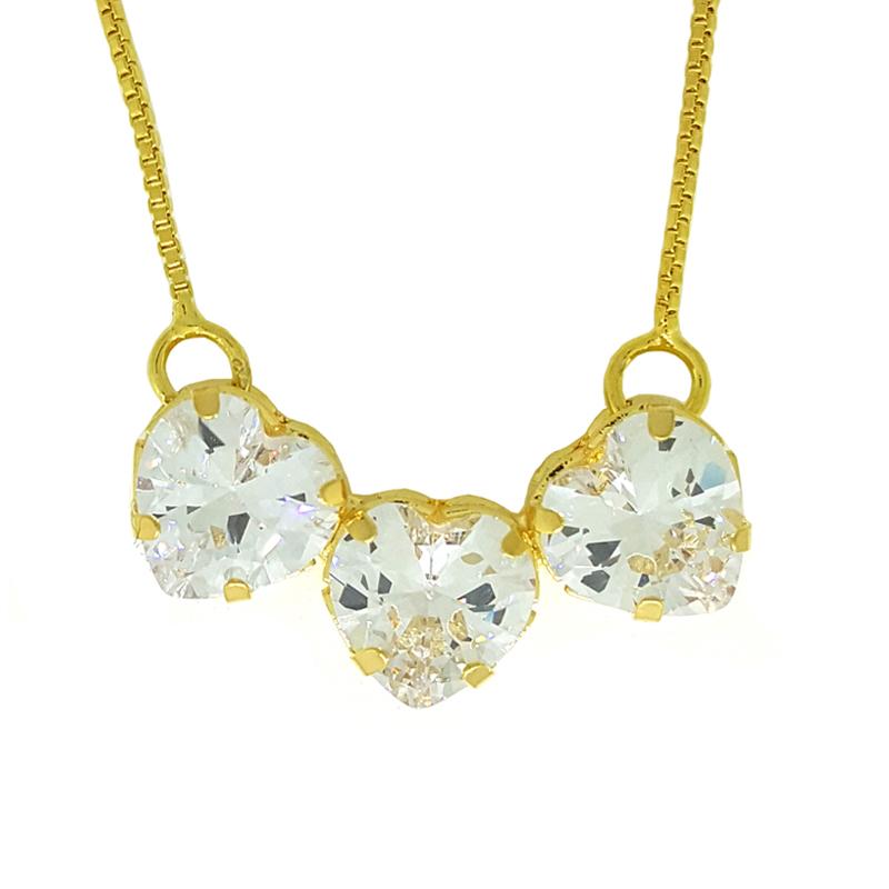 Colar 3 corações zircônia brilhante folheado ouro com corrente veneziana e148df896d