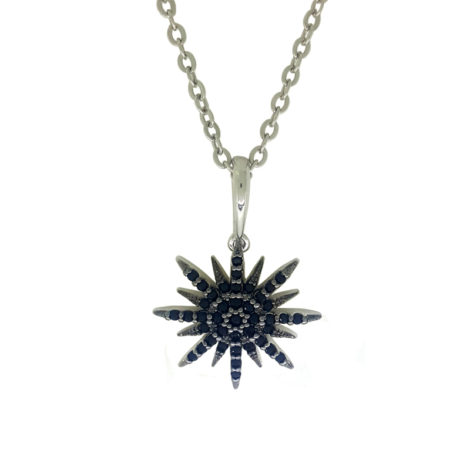 colar pingente estrelar 8 pontas com zirconias pretas folheado a rodio prateado sabrina joias brilho folheados 1