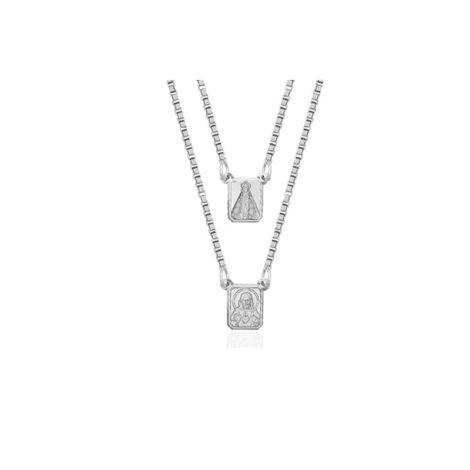ecapulário unissex com medalha mini do sagrado coracao de jesus e nossa senhora aparecida com oracao em prata pura brilho folheados 1