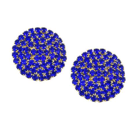 maxi binco redondo com strass azul royal folheado a ouro 18k gratis tarraxa sutiã de orelha folheado ouro 18k brilho folhedos