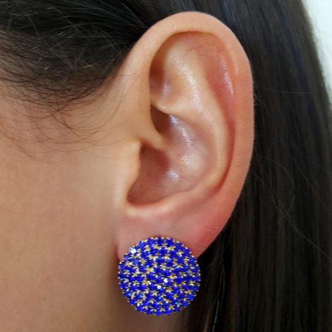 maxi binco redondo com strass azul royal folheado a ouro 18k gratis tarraxa sutiã de orelha folheado ouro 18k brilho folhedos foto modelo
