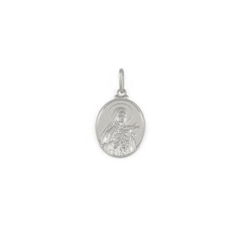 pingente oval santa terezinha em prata joia brilho folheados