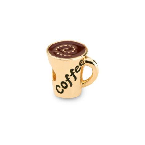 1800550 berloque xicara de cafe folheado a ouro dourado 18k com resina marrom e preta sabrina joias brilho folheados