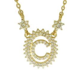 1900348 colar pingente oval letra c cravejado com zirconias branca folheado a ouro dourado 18k brilho folheados sabrina joias