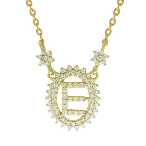 1900348 colar pingente oval letra e cravejado com zirconias branca folheado a ouro dourado 18k brilho folheados sabrina joias