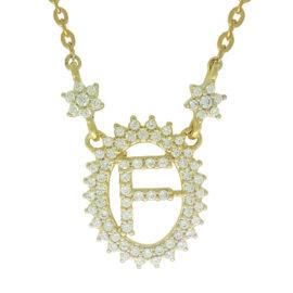 1900348 colar pingente oval letra f cravejado com zirconias branca folheado a ouro dourado 18k brilho folheados sabrina joias