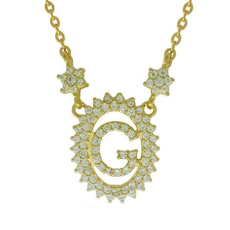 1900348 colar pingente oval letra g cravejado com zirconias branca folheado a ouro dourado 18k brilho folheados sabrina joias