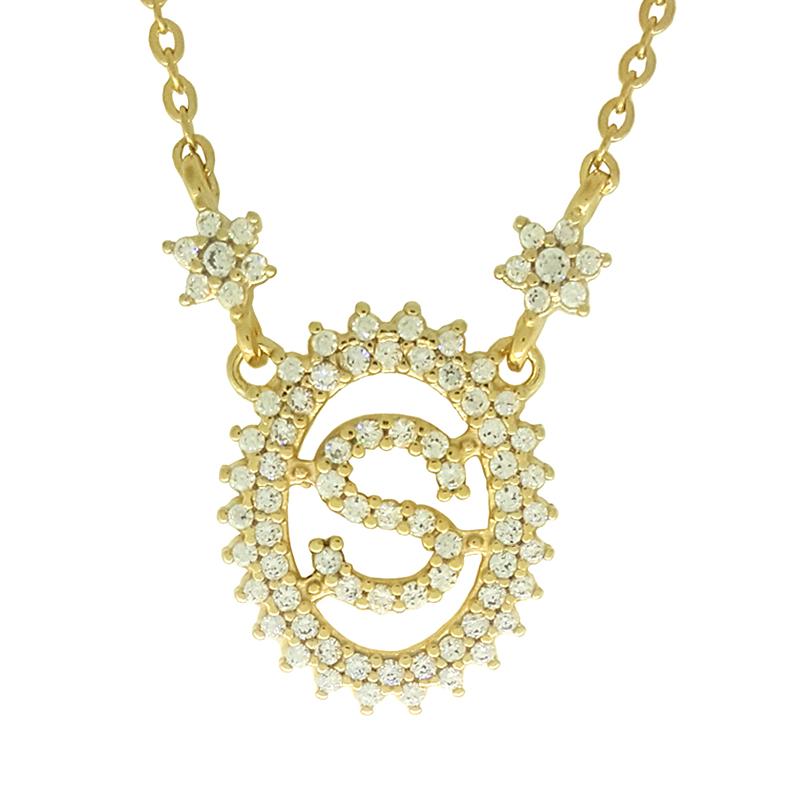 733b09fe30314 Colar S letra inicial nome com flores de zircônia folheado a ouro ...
