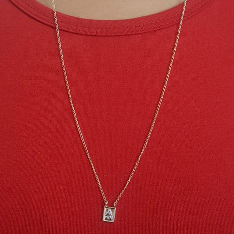 1901200 escapulario feminino de nossa senhora do carmo e do sagrado coracao de jesus joia folheada a ouro dourado 18k brilho folheados sabrina joias foto modelo 3