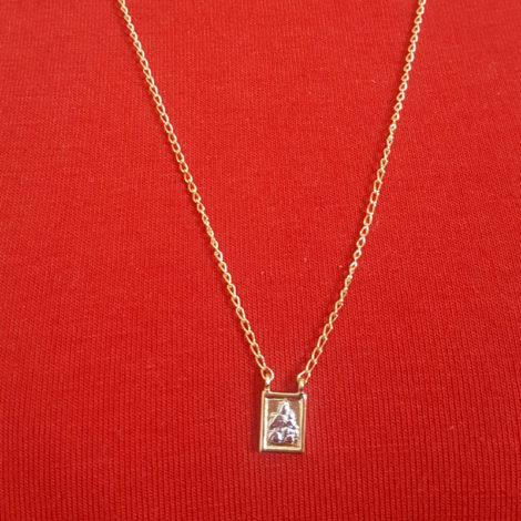 1901200 escapulario feminino de nossa senhora do carmo e do sagrado coracao de jesus joia folheada a ouro dourado 18k brilho folheados sabrina joias foto modelo 4