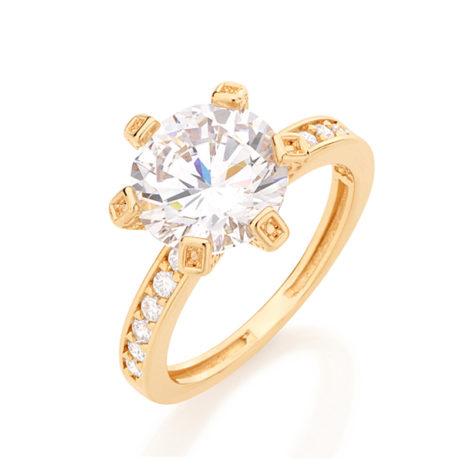511649 anel solitario pedra grande rommanel com aro cravejado com 12 zirconias brancas joia rommanel brilho folheados