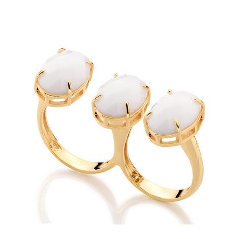 511686 Anel duplo liso tendo três pedras brancas oval facetadas rommanel metamorfose brilho folheados