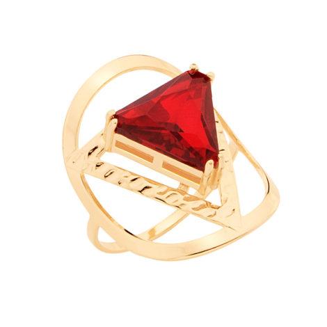 512624 anel aro fino com peca oval e cristal triangulo no centro vermelho rubi joia folheada ouro brilho folheados rommanel metamorfose
