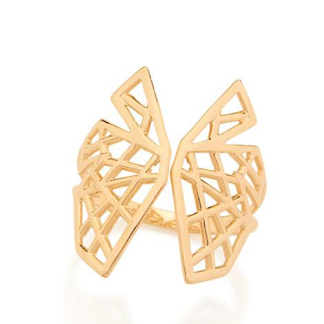 512625 anel ajustavel asas de borboleta estilizadas vazadas rommanel metamofose brilho folheados anel folheado a ouro