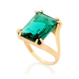 Anel solitário retangular cristal verde grande