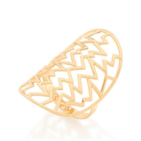 512627 maxi anel parte superior oval vazado com destalhes de metal em zigzag rommanel metamorfose sem niquel brilho folheados anel folheado a ouro