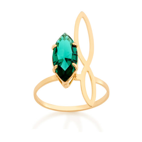 Anel cristal verde asa de borboleta estilizada
