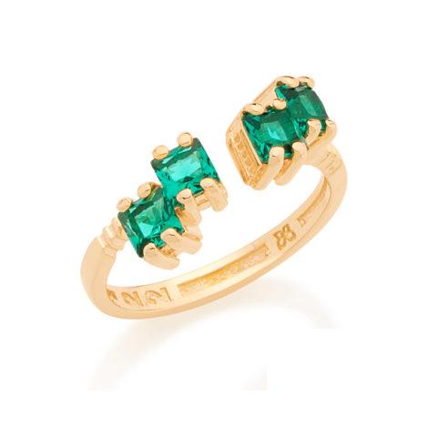 512636 anel aro ajustavel 4 cristais quadrados verde folheado ouro dourado 18k rommanel brilho folheados colecao metamorfose