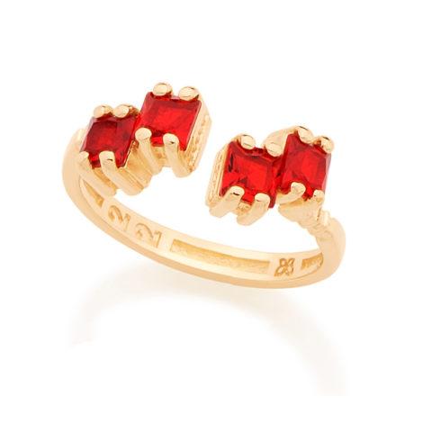 Anel ajustável 4 cristais vermelhos conectados