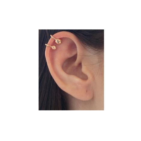 516128 Brinco piercing de pressão earcuff formado por aro torcido composto por 2 esferas trabalhadas joia rommanel colecao metamorfose brilho folheados modelo