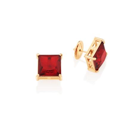 Brinco solitário cristal quadrado vermelho rubi