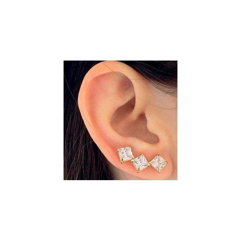 4077b3e4144a8 Brinco ear cuff 6 zircônias prateado Rommanel 121702