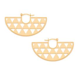 526132 Brinco meia argola com detalhes vazados no formato de pequenos triangulos rommanel metamorfose brilho folheados