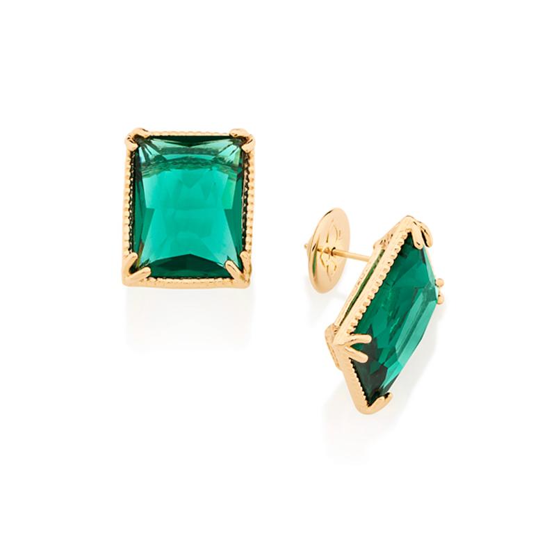 Brinco retangular solitário cristal verde grande Joia Rommanel 526134 a56b89849a