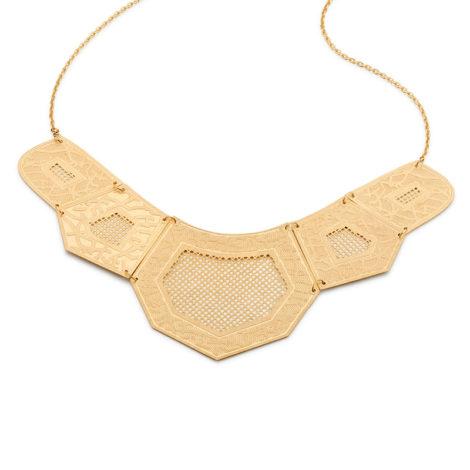 531442 Maxi colar formado por fio de elos oval tendo 5 peças geomêtricas foscas articuladas com detalhes vazados no centro rommanel metamorfose brilho folheados