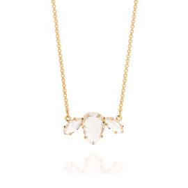 531668 Gargantilha composta por pendant formada por 1 cristal gota no centro e 2 cristais navetes nas extremidades joia rommanel metamorfose brilho folheados
