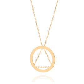 531901 Colar formado por fio fino com elos entrelaçados tendo pendant com detalhe de triangulo ao centro med 50cm rommanel metamorfose brilho folheados