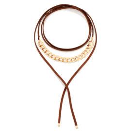 Choker gravata couro marrom elos de metal